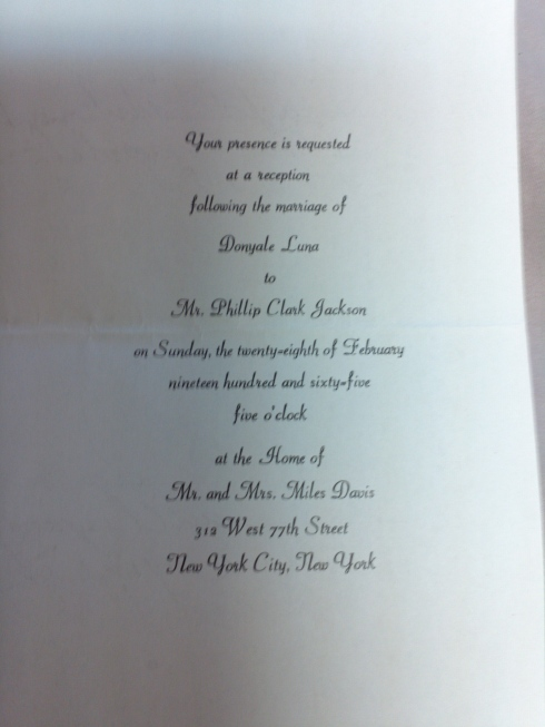 Invitation to Donyale's reception following her marriage to Phillip ...